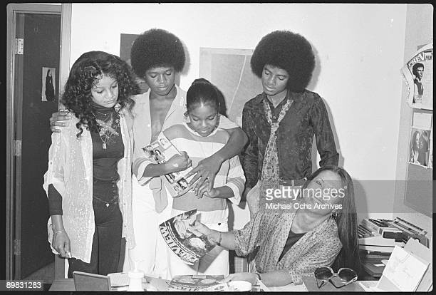 From left to right, American singers La Toya Jackson, Randy Jackson, Janet Jackson and Michael Jackson in Los Angeles, 7th July 1978. A photoshoot...