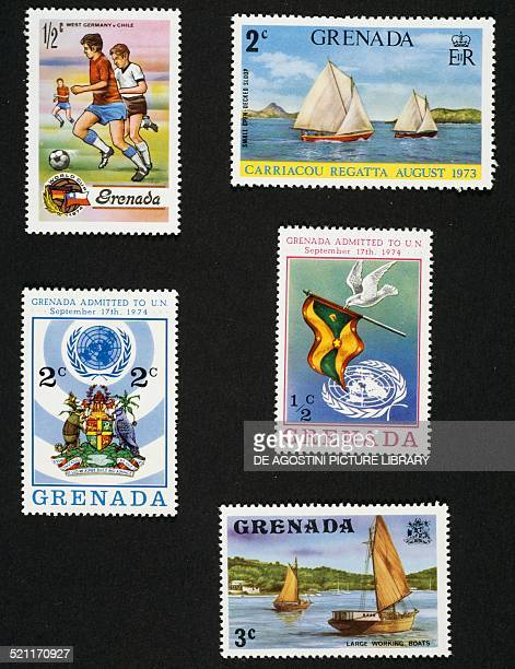 From left to right and from top to bottom postage stamp commemorating the 1974 FIFA World Cup in Germany depicting game between Federal Republic of...