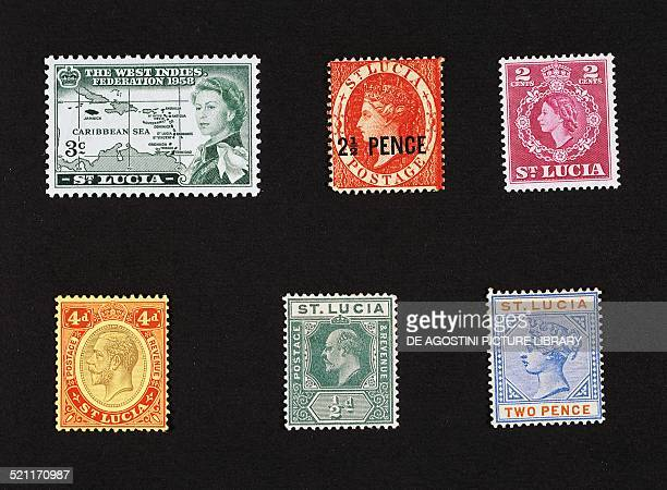 From left to right and from top to bottom postage stamp commemorating the birth of the Federation of the West Indies 1958 postage stamp depicting a...