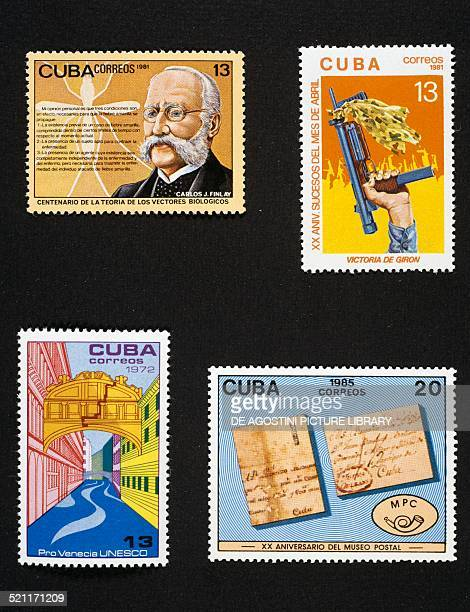 From left to right and from top to bottom postage stamp commemorating the Centenary of the biological vector theory developed by Carlos Juan Finlay...