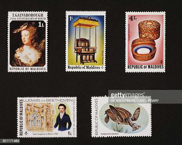 From left to right and from top to bottom postage stamp commemorating the 250th anniversary of the birth of the painter Thomas Gainsborough depicting...