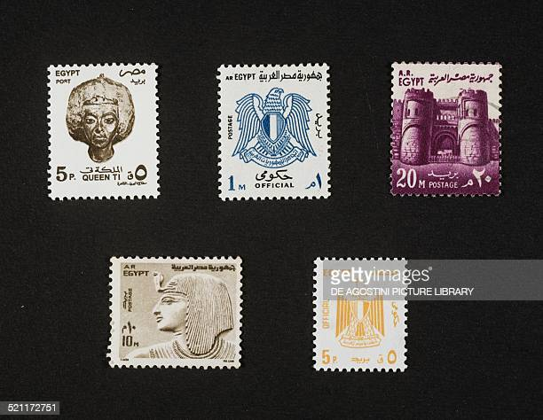 From left to right and from top to bottom postage stamp depicting a XVIII Dynasty nobleman's head 1997 postage stamp depicting the Egyptian coat of...