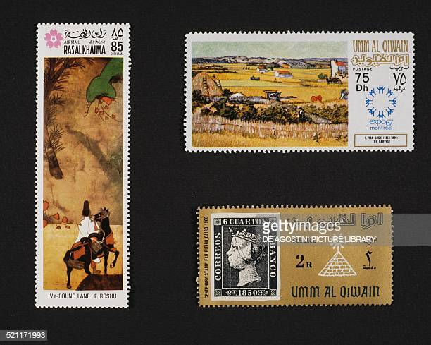 From left to right and from top to bottom postage stamp depicting Ivy Bound Lane by Fukae Roshu Ras alKhaimah postage stamp commemorating the Expo in...