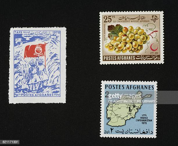 From left to right and from top to bottom postage stamp depicting men carrying the Pashtunistan flag 1978 postage stamp honouring Red Crescent Day...