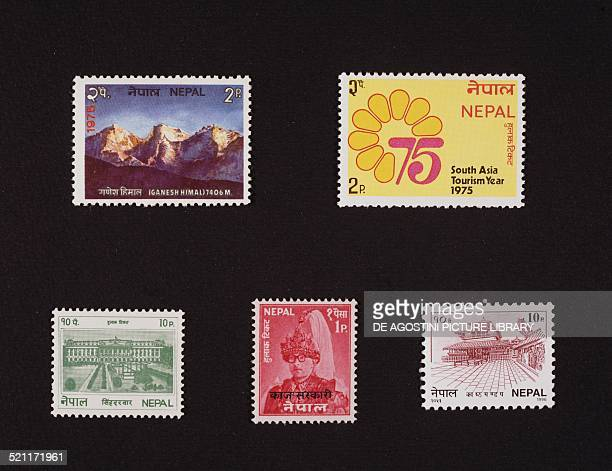 From left to right and from top to bottom postage stamp depicting Mount Ganesh Himal 1975 postage stamp honouring the Year of tourism in South Asia...