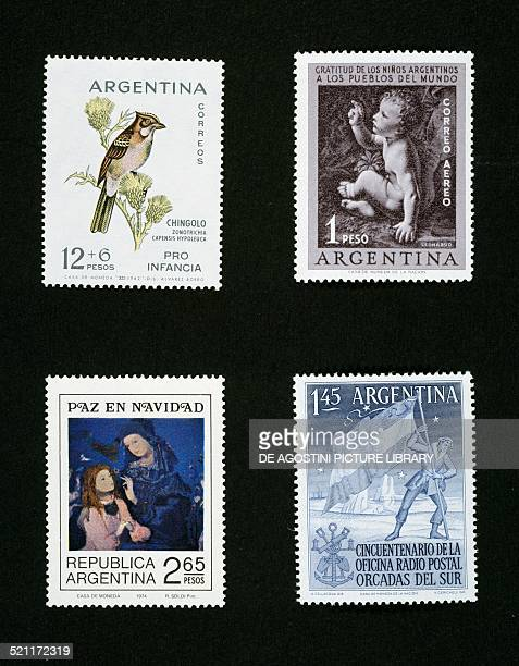 From left to right and from top to bottom: postage stamp depicting Zonotrichia capensis hypoleuca, 1962; postage stamp depicting Baby Jesus, detail...
