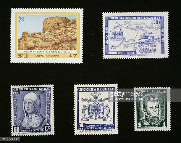 From left to right and from top to bottom: postage stamp depicting San Pedro de Atacama, 1983; postage stamp honouring the Five centennial cities...