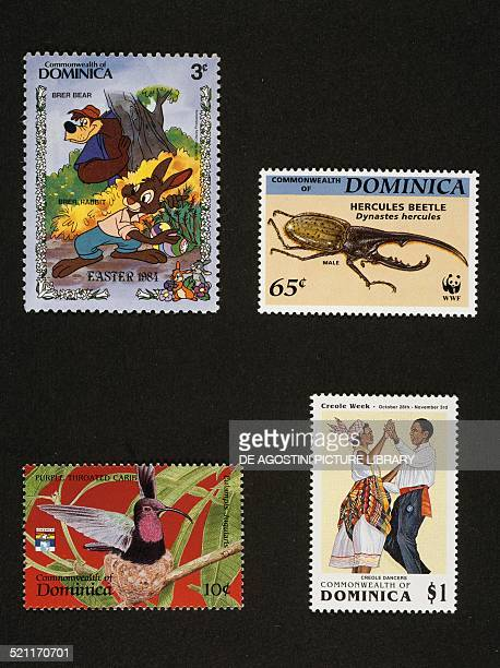 From left to right and from top to bottom postage stamp from the Easter series Walt Disney characters The Bear and rabbit postage stamp from the...