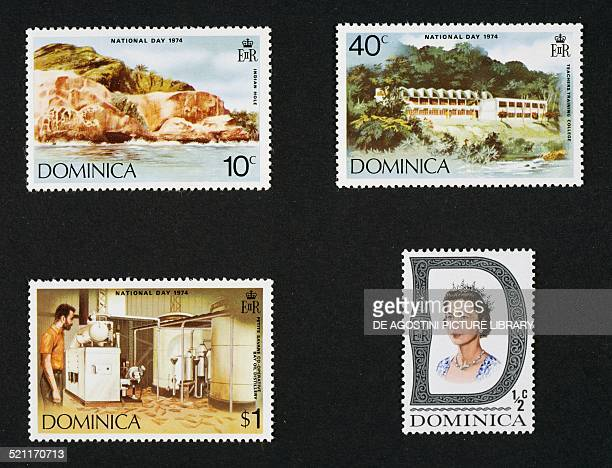 From left to right and from top to bottom postage stamp from the Dominican national day series depicting Indian Hole Teachers' college Oil distillery...