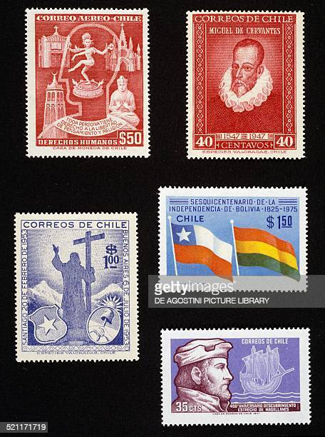 From left to right and from top to bottom postage stamp honouring Freedom of thought and religion depicting symbols of various religions postage...