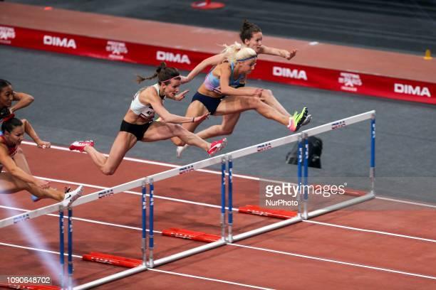Andrea Ivancevic Solene Ndama Greta Kerekes Karolina Koleczek Sacha Alessandrini compete in 60m Hurdles during the Athletics Indoor Meeting of Paris...