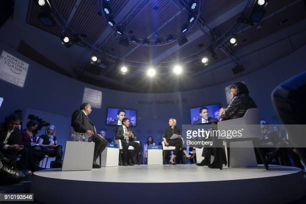 From left to right Andrew Liveris chairman and chief executive officer of Dow Chemical Co Rajiv Shah president of The Rockefeller Foundation Francine...