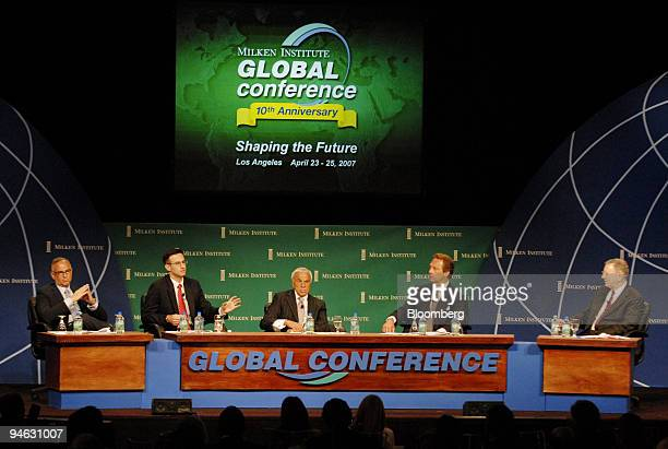 From left to right Andrew Rosenfield managing partner for Guggenheim Partners LLC Peter Orszag director of Congressional Budget office Angelo Mozilo...