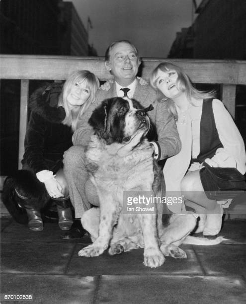 From left to right Ann Holloway Patrick Cargill and Natasha Pyne with family pet Patsy the stars of the new Thames Television show 'Father Dear...
