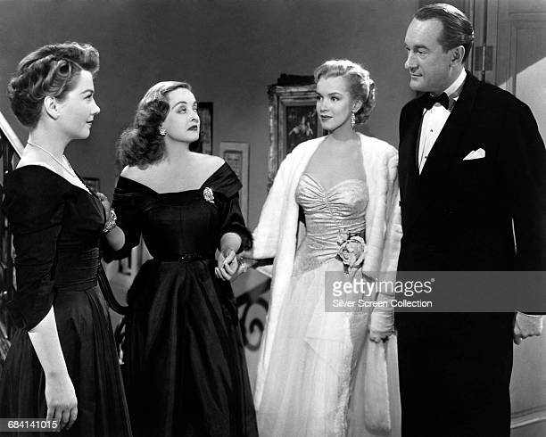 From left to right Anne Baxter as Eve Harrington Bette Davis as Margo Channing Marilyn Monroe as Miss Casswell and George Sanders as Addison DeWitt...