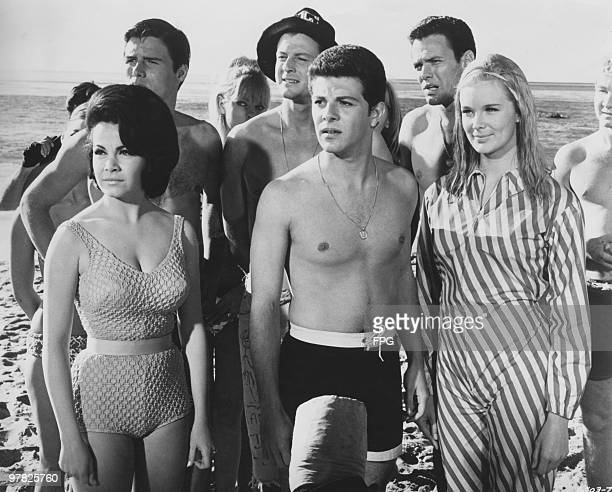 From left to right Annette Funicello Frankie Avalon and Linda Evans star in the film 'Beach Blanket Bingo' 1965 In the row behind is Jody McCrea