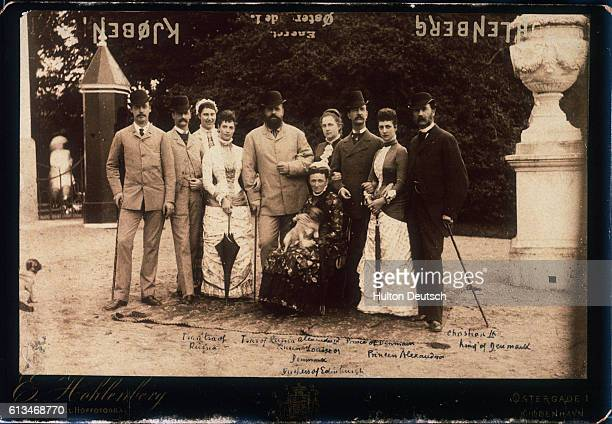 From left to right are Prince Waldermar of Denmark Crown Prince Frederick of Denmark Crown Princess Louise of Denmark Empress Marie Feodorovna of...