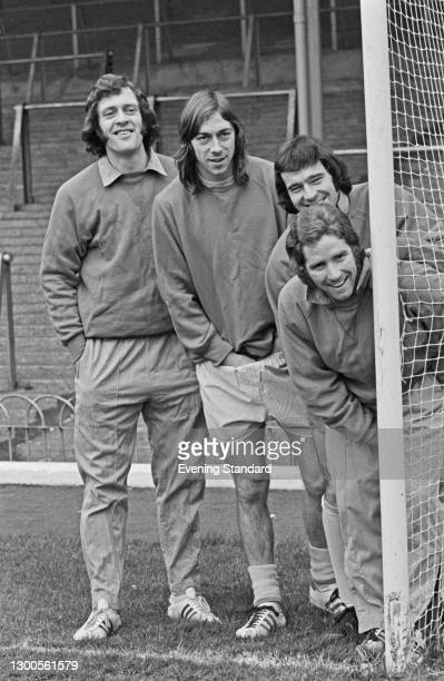 From left to right, Arsenal footballers Jeff Blockley, Charlie George, Peter Storey and Alan Ball Jr. , UK, 2nd February 1973.