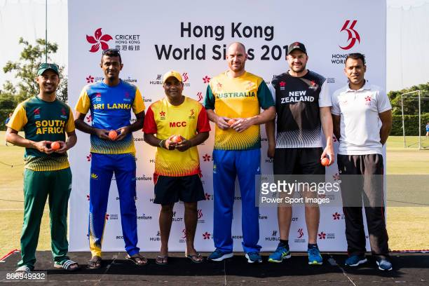 From left to right Aubrey Swanepoel of South Africa Team Captain Farveez Maharoof of Sri Lanka Team Captain Samit Patel of Marylebone Cricket Club...
