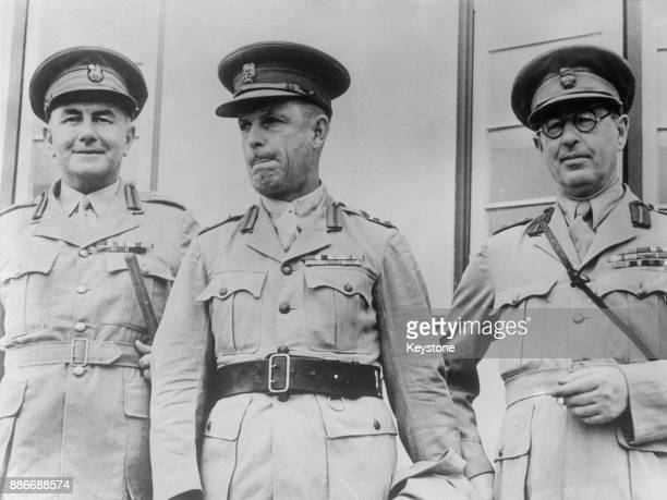 From left to right Australian Major Generals John Joseph Murray Cyril Clowes and Stanley Savige arrive in Sydney after being recalled from the Middle...