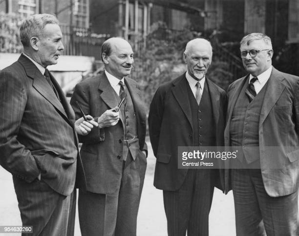 From left to right Australian Prime Minister Ben Chifley British Prime Minister Clement Attlee South African Prime Minister Jan Christiaan Smuts and...