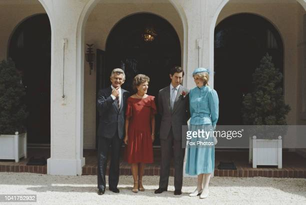 From left to right Australian Prime Minister Bob Hawke with his wife Hazel and the Prince and Princess of Wales in front of Government House in...