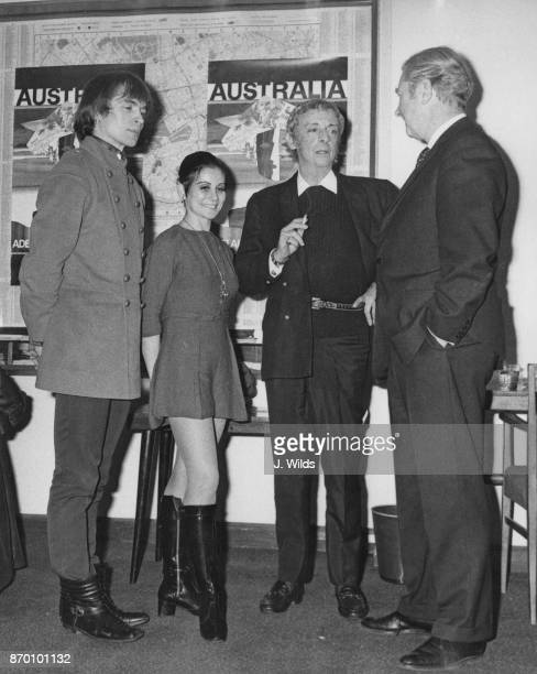 From left to right ballet dancers Rudolf Nureyev Lucette Aldous and Sir Robert Helpmann with agent Mr Milne at a press conference at the Qantas...