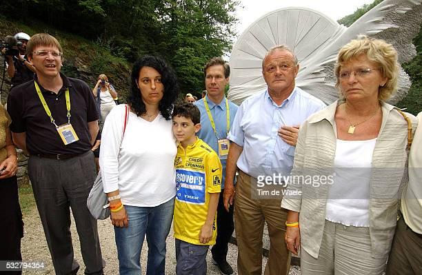 Belgian Prime Minister guy Verhofstadt Fabio Casartelli's wife Annalisa his son Marco Jim Osowich Tour de France director JeanMarie Leblanc and...