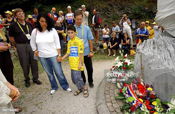 Belgian Prime Minister guy Verhofstadt Fabio Casartelli's wife Annalisa his son Marco and Jim Osowich pay tribute to late rider Fabio Casartelli who...