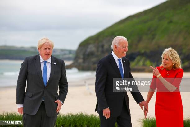 From left to right, Boris Johnson, U.K. Prime minister, U.S. President Joe Biden, second right, and U.S. First Lady Jill Biden, right, arrive for the...