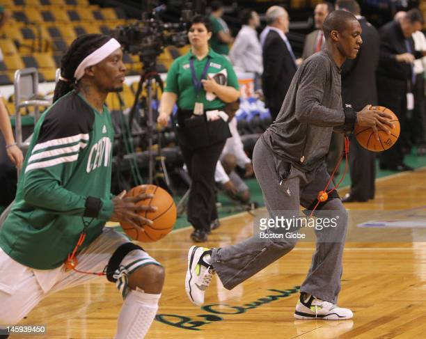 From left to right Boston Celtics shooting guard Marquis Daniels point guard Rajon Rondo during pregame warmups Boston Celtics NBA basketball action...