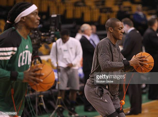 From left to right: Boston Celtics shooting guard Marquis Daniels point guard Rajon Rondo during pre-game warmups. Boston Celtics NBA basketball,...