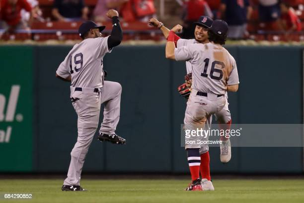 From left to right Boston Red Sox center fielder Jackie Bradley Jr Red Sox right fielder Mookie Betts and Red Sox left fielder Andrew Benintendi...