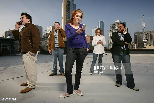 From left to right Brett Collett Nathan Tanti Lucy Martin Charlene Gatt and Rupa Ramanathan are all dependant on their mobile phones 9 June 2006 THE...