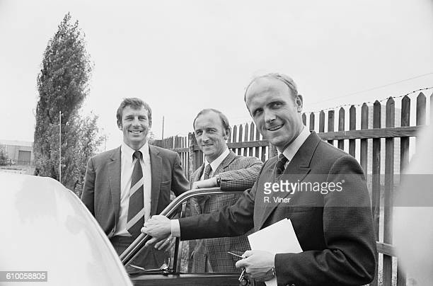 From left to right Brian Whitehouse George Wright and Don Howe of West Bromwich Albion FC UK July 1971