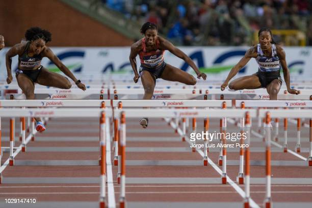 From left to right Brianna McNeal of USA Danielle Williams of Jamaica and Kendra Harrison of USA compete in Wonmen's 100m hurdles of the AG Insurance...