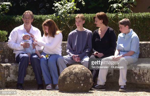 From left to right Britain's Prime Minister Tony Blair with baby Leo Kathryn Euan Cherie and Nicky Tony Blair and his family pose for a longawaited...