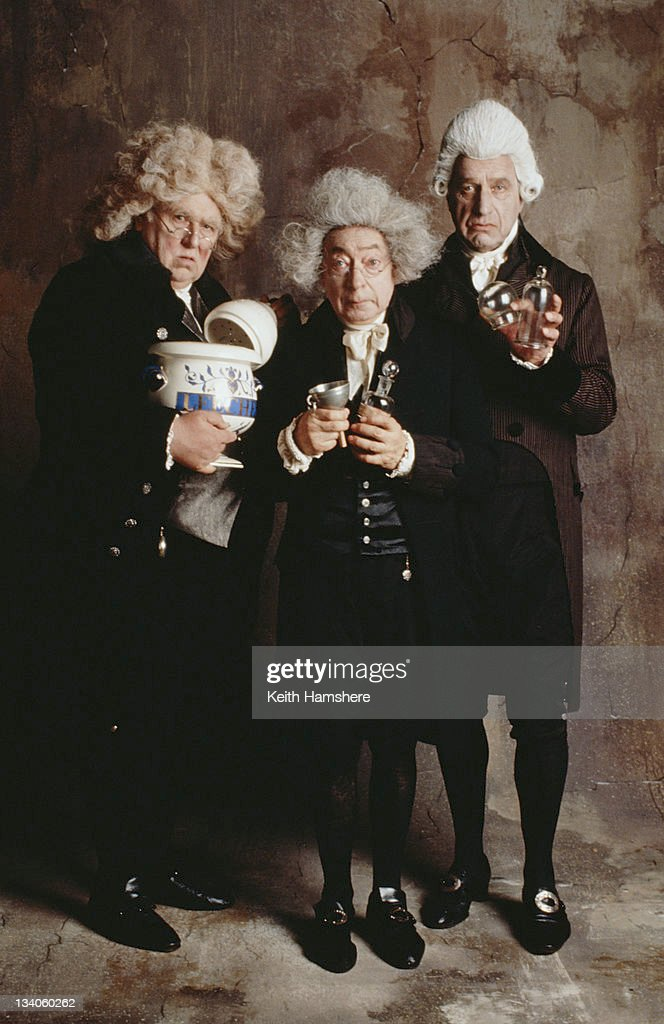 From left to right, British actors Roger Hammond, Cyril Shaps (1923 - 2003) and Geoffrey Palmer as physicians in the film 'The Madness of King George', 1994.