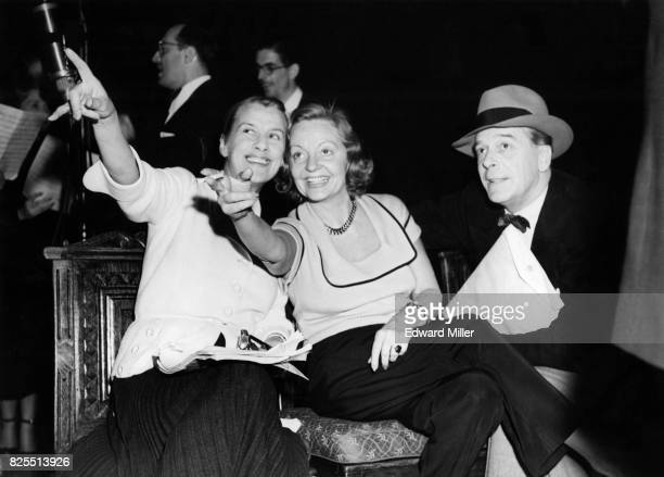 From left to right British actress and singer Beatrice Lillie actress Tallulah Bankhead and actor Jack Buchanan during rehearsals for the 'Big Show'...