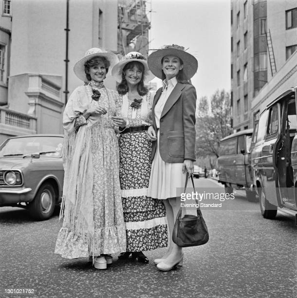 From left to right, British actresses Julia Goodman, Jennifer Wilson and Jean Marsh at a Ladies of Television luncheon at the Dorchester Hotel in...