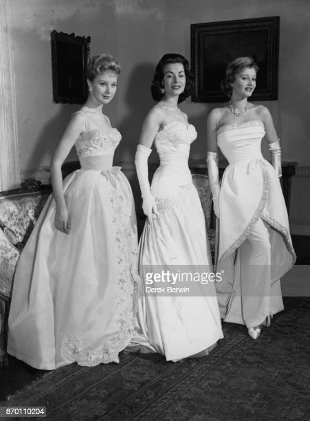 From left to right British actresses June Laverick Anne Heywood and Jill Ireland attend the Royal Film Performance at Londonderry House Park Lane...
