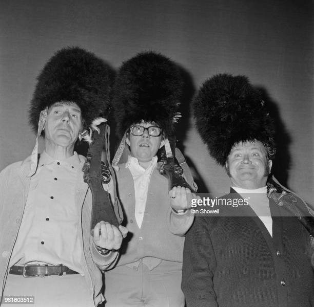 From left to right, British comedians Eric Sykes, Ronnie Corbett and Harry Secombe rehearse their act at the London Palladium, for the Royal Gala...