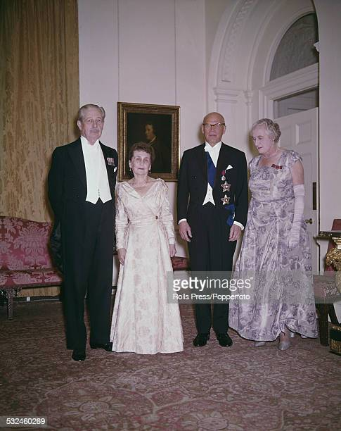 British Conservative party politician and Prime Minister of the United Kingdom Harold Macmillan pictured with Sylvi Salome Uino wife of the President...