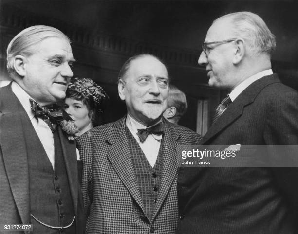 From left to right, British Conservative politician Robert Boothby, Baron Boothby, KBE , Sir Compton Mackenzie and Frank Cousins at the Foyles...