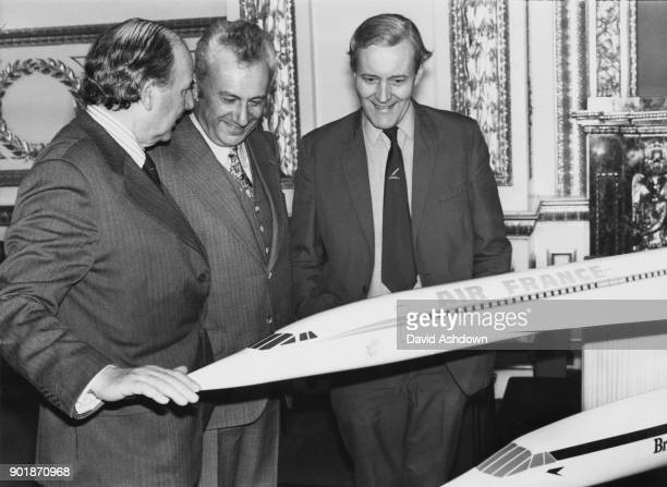 From left to right British Labour politician Frank Beswick Baron Beswick Marcel Cavaillé the French Secretary of State for Transport and Anthony...