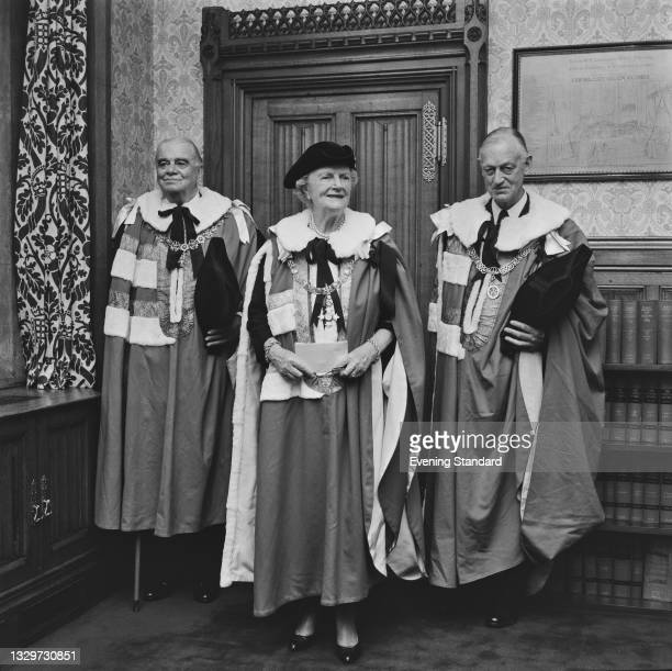 From left to right, British military officer and diplomat Lord Hastings Ismay, 1st Baron Ismay , Lady Clementine Churchill , and civil servant Lord...