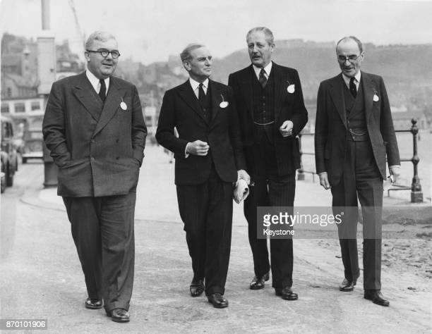 From left to right British politician Charles Hill Kenneth Pickthorn Parliamentary Secretary to the Minister of Education Harold Macmillan the...