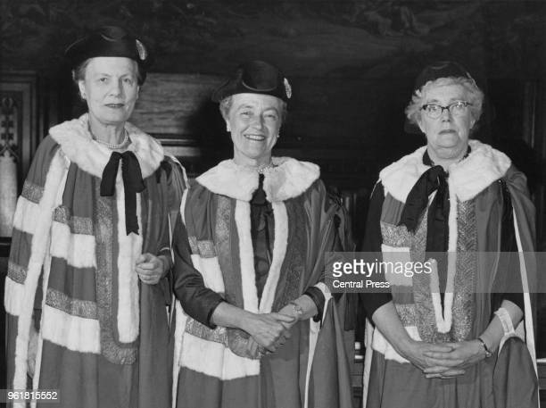 From left to right British politicians Edith Summerskill Baroness Summerskill of Ken Wood and Elaine Burton Baroness Burton of Coventry with...
