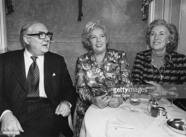 From left to right British Prime Minister James Callaghan with actors Jessie Matthews and Dame Vera Lynn at a party at the Savoy Hotel in London to...
