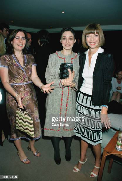 From left to right, British Vogue editor Alexandra Shulman, French Vogue editor Joan Juliet Buck and American Vogue editor Anna Wintour at Karl...